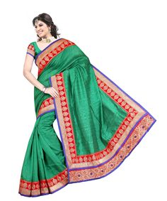 Green Bhagalpuri Saree With Blouse 60056