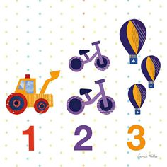 1,2,3 childrens print, by Sarah Millin. Available from Wild Apple Graphics