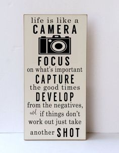 Life Is Like A Camera Wood Sign Camera Wood Sign by vinylcrafts