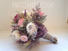Wedding - Dried Bridal Party Bouquets - Dried flowers - shabby chic wedding - - bridal party - bridesmaid bouquet - sola flower - fall -