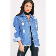 Abegaila Light Wash Distress Oversized Denim Jacket ($38) ❤ liked on Polyvore featuring outerwear, jackets, light blue wash, blue jackets, jean jacket, distressed denim jacket, blue denim jacket and blue jean jacket