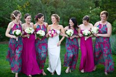 Bridesmaid dresses with print