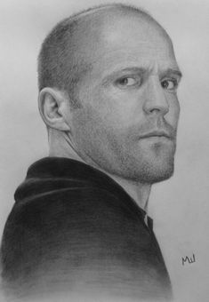 Jason Statham, pencil drawing by Miroslav Sunjkic