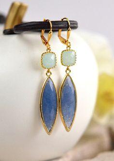 Dangle Earrings Gift for Her. Drop Earrings. Blue by RusticGem