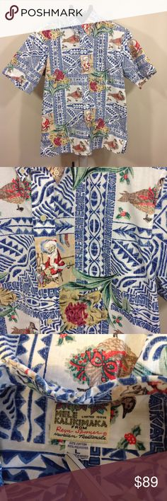 """Reyn Spooner Christmas Hawaiian Shirt Sz L Great pre-owned condition    Limited edition Mele Kalikimaka reverse print Hawaiian Shirt Color:  blue, brown Tag Size:  Blue, white, red, green  Measurements (approx.):       Chest/Bust (underarm seam to underarm seam):  25.5""""       Length (back of neck seam to hem):  30""""  Brand:  Reyn Spooner Fabric:  60% cotton, 40% polyester     Santa Claus, bird, mistletoe Reyn Spooner Shirts Casual Button Down Shirts"""