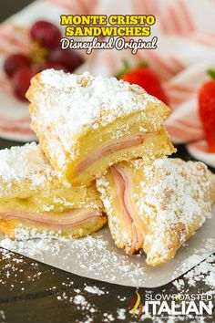 This Monte Cristo sandwich is my absolute favorite thing to order at Disneyland! Every time we go to Disneyland we make reservations at Cafe Orleans and order the Monte Cristo and the Pomme Frites (which are also available at the Blue Bayou). They have shared their official recipe and it is divine! French Sandwich, Grilled Ham And Cheese, Sandwiches, The Slow Roasted Italian, Homemade Sloppy Joes, Battered And Fried, Savory Breakfast, Breakfast Ideas, How To Make Breakfast