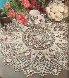 """#455 Tapete color crudo """"Tréboles"""" a Crochet"""