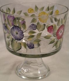 hand painted rose images | Hand-Painted Trifle Bowl with 4 color wild roses | PinkFox - Glass on ...