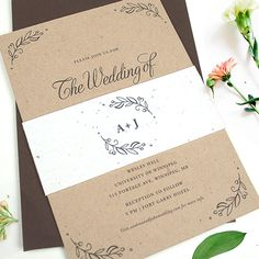 A simple yet charming Kraft Paper Wedding Invitation that features a lovely monogram printed on the seed paper color of your choice.