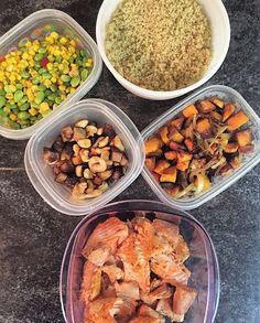 #MealPrepMonday comin' atcha! | Quinoa mixed veggies roasted chicken apple sausage and cashews crispy/crunchy sweet potatoes and onions and chunks of pan-cooked salmon. | #OnTheBlog soon (LINK in Bio)! | by rawalitytimes
