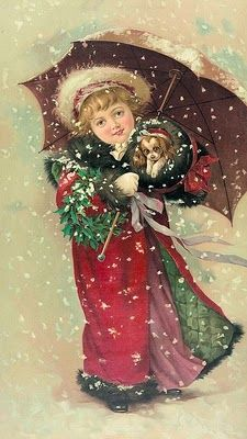 Victorian vintage Christmas postcard  girl in red cape with umbrella