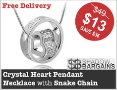 Crystal Heart Pendant Necklace with Snake Chain #jewellery #pendant
