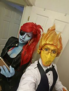 Undertale undyne and grillby cosplay - COSPLAY IS BAEEE! Tap the pin now to grab yourself some BAE Cosplay leggings and shirts! From super hero fitness leggings, super hero fitness shirts, and so much more that wil make you say YASSS! Cosplay Makeup, Cosplay Outfits, Costume Makeup, Cosplay Costumes, Epic Cosplay, Amazing Cosplay, Undertale Costumes, Undyne Cosplay, Halloween Cosplay