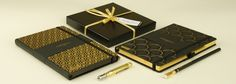 Fine Italian stationery from Castelli's Black & Gold range along with our packaging. Stationery Pens, Journalling, Notebooks, Planners, Black Gold, Packaging, Range, How To Make, Design