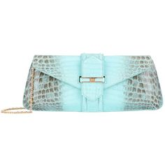 Analeena Crocodile Envelope Clutch (31.480 BRL) ❤ liked on Polyvore featuring bags, handbags, clutches, chain-strap handbags, envelope clutch, blue handbags, clasp purse and chain handle handbags