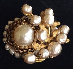 Luscious Vintage Miriam Haskell Brooch Pin Baroque Pearls Goldtone Filigree Sign | eBay