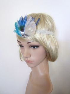 1920's hair accessories | 1920s inspired Blue feather fascinator ... | 1920's style hair acces ...