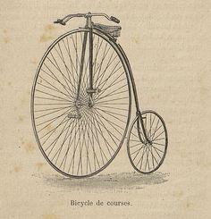Bicycle de course. Gravure sur bois. Extrait de : Les Exercices du corps / Gaston Bonnefont, Paris, 1890.  http://www.babordnum.fr/viewer/show/604#page/n220/mode/1up