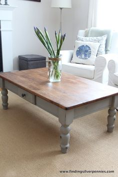 Special Walnut varnish/stain  Silver Pennies: French Linen Coffee Table
