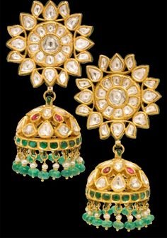 I just love these Jaipuri earrings, made with 23ct gold and glass also know as Kundan.