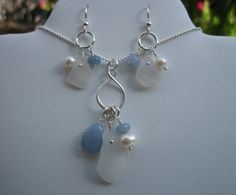 Gorgeous  blue sterling sea glass necklace set with a pearl and gem | montereybayseaglass - Jewelry on ArtFire
