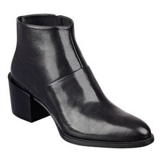 """Our go-with-virtually-everything Entity streamlined leather pointed toe booties are one of the go-to styles of the season. Side zip entry for easy on/off. Padded footbed for all-day comfort. Leather upper. Man-made lining and sole. Imported. 2 1/2"""" exposed chunky mid heels."""