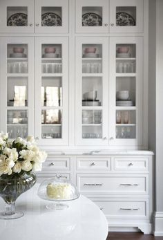 White Kitchen Cabinets with Glass Doors #kitchendoors