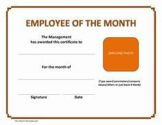 Employee Of The Month  Here Is Our Free Certificate For Your