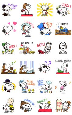 Snoopy's here like you've never seen him before! He's playing dress up with old favorites like his flying ace costume, and a whole range of new outfits including world famous lawyers, authors, and detectives! These stickers will be sure to dress up your chats in fun.