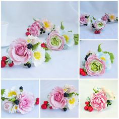 Set Cake toppers, decoration of the wedding cake, cold porcelain flowers on the cake, wedding flowers