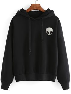 Shop Black Alien Print Hooded Sweatshirt online. SheIn offers Black Alien Print Hooded Sweatshirt & more to fit your fashionable needs.