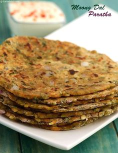 Healthful moong dal takes the form of a tasteful paratha here! I don't know what moong dal or paratha is but I'm excited to find out Veg Recipes, Indian Food Recipes, Vegetarian Recipes, Cooking Recipes, Healthy Recipes, Cooking Bacon, Diabetic Breakfast Recipes, Healthy Chili, Recipies