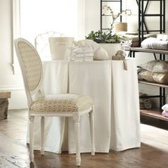 "24"" diameter Round table skirt, tablecloth with tailored, 6 box pleats, linen choose your own color"