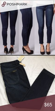 """MMK Skinny Jeans 🆕 size added. So adorable & so hard to find. A season-hopping essential, these cropped skinny jeans from MICHAEL Michael Kors flaunt a midnight wash and very light fading for a worn-in look.  * Zip fly/button closure, 5-pocket silhouette, belt loops * Contrast stitching, gold-tone hardware, slight fading * 10"""" rise, 16"""" back rise, 29"""" inseam, 12.5"""" leg opening * Michael Kors stamped logo on back pocket  * 98% Cotton, 2% elastane * Machine wash 🚫NO OFFERS🚫 LOWEST PRICE…"""
