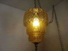 Vintage Mid-Century Amber Glass Swag Hanging Ceiling light