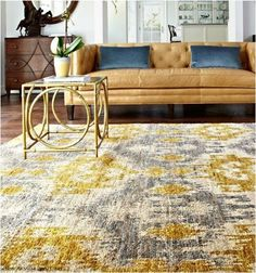 Living Room: Yellow and gray rug and yellow/tan leather sofa Xavier Grey Gold Transitional Loloi Rug Decor, Gold Couch, Gold Sofa, Leather Sofa, Rugs In Living Room, Home Decor, Contemporary Rugs, Yellow Living Room, Gold Living Room