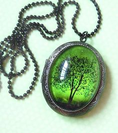 locket necklace artwork heart tree - Google Search