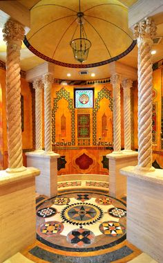 The bathroom of the Moroccan Suite South Beach mansion formerly owned by fashion designer Gianni Versace in Miami Beach