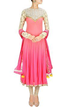 INTRODUCING : Neon pink to dark pink ombre shaded pearl embroidered anarkali set by Yashodhara. Shop at www.perniaspopups... #new #designer #yashodhara #indian #traditional #shopnow #perniaspopupshop #happyshopping