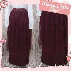 Maroon Tutu Skirt made from satin velvet and soft tile #handmade #skirt #tutuskirt #satin #fashion