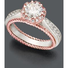 Blush By Design Diamond Ring, 14k White And Rose Gold Certified Diamond Flower Ring (1-1/4 Ct. T.W.)