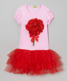 Look what I found on #zulily! Pink & Red Rosette Puff-Sleeve Tutu Dress - Toddler & Girls #zulilyfinds