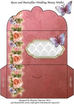 - Beautiful glowing roses and butterflies border this damask rose money wallet. Suitable for wedding gifts, anniversary, birth. Envelope Template Printable, Paper Box Template, Pocket Envelopes, Gift Envelope, Envelope Art, Envelope Sizes, Wedding Cards Handmade, Wedding Gifts, Baby Clip Art