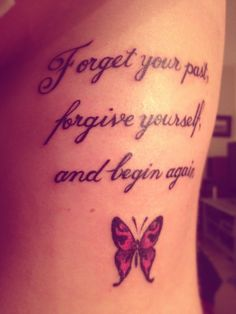 Nice quote tattoo with butterfly!