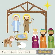 Nativity clip art set.  10 unique graphics (plus a 2nd version of Mary, Joseph and baby Jesus without halos) - 13 graphics total.    Graphics measure about 6 inches, except stable which is about 9 inches wide.
