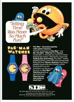 Vintage Pac Man ad from the early 80's video game craze. 80s Video Games, Vintage Video Games, Vintage Games, Classic Artwork, Vintage Artwork, Video Game Industry, Pac Man, Videogames, Watches For Men