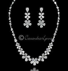 CZ Teardrop Flower Bridal Jewelry Set