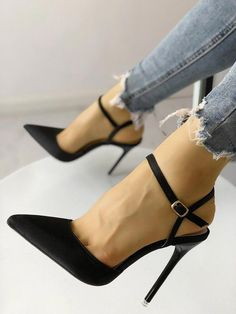 Satin Ankle Buckle Pointed Toe Thin Heeled Sandals #Highheels Black High Heel Pumps, Sexy High Heels, Lace Up Heels, High Heel Boots, Womens High Heels, Shoe Boots, Black Pointed Toe Heels, Stilettos, Pumps Heels