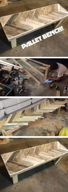 Plans of Woodworking Diy Projects - Check out the tutorial on how to make a DIY pallet bench DIY Home Decor Ideas @ ISD Get A Lifetime Of Project Ideas & Inspiration!
