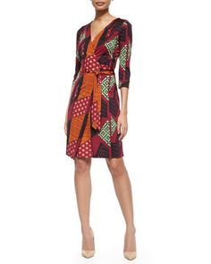 Silk Tribal-Print Wrap Dress, Multicolor by Diane von Furstenberg at Neiman Marcus.  Love the ethnic graphic print on this classic wrap dress.